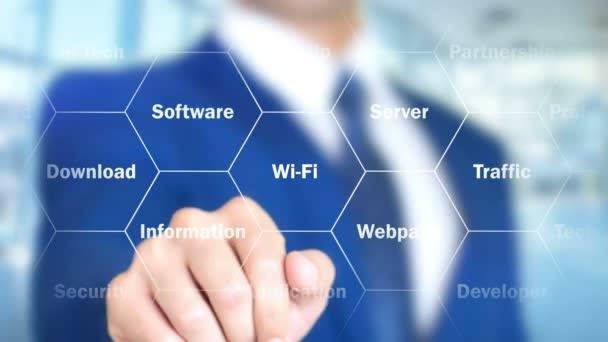 Online felhő megoldások, a holografikus felület, vizuális képernyő dolgozó férfi
