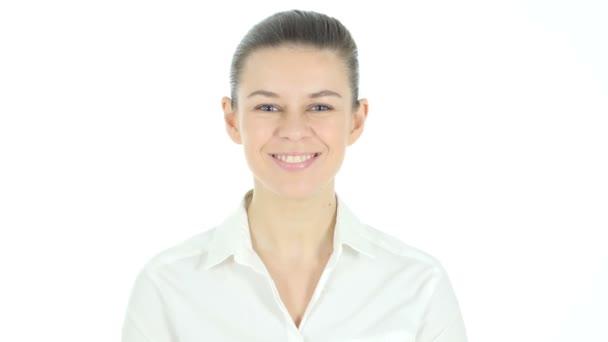 Winning Woman Celebrating Success, White Background