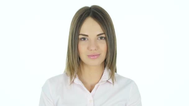 Portrét krásné ženy, bílé pozadí