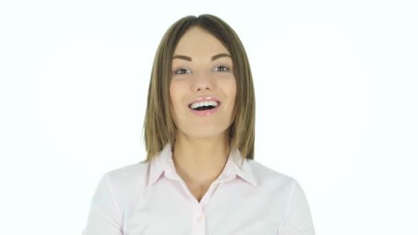 Winning Beautiful Woman Celebrating Success, White Background