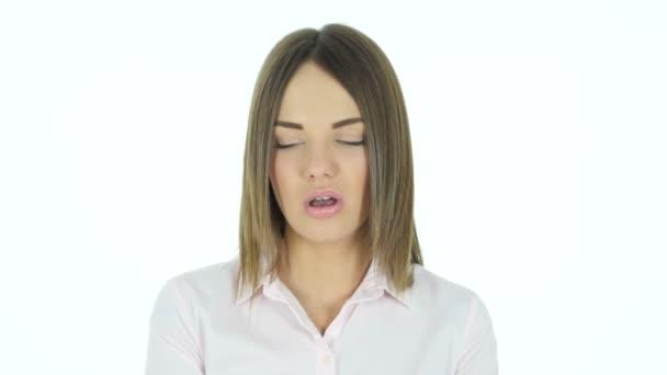 Ásító fáradt gyönyörű nő, munkát túlterhelés