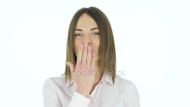 Flying Kiss by Beautiful Woman, White Background