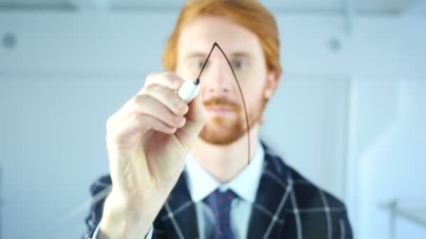 Creative Man Drawing Startup Rocket Concept on Transparent Glass, Red Hairs