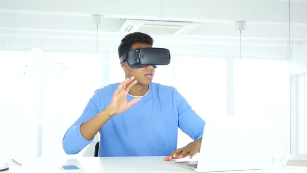 Wearing virtual reality glasses in Office, using with Smartphone VR goggles h