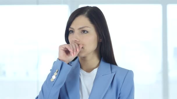 Sick Female Patient Coughing, Cough and Throat Sore