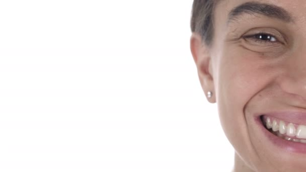 Close Up of Half Smiling Face of Latin Girl, White Background