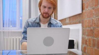 Thinking, Brainstorming Sad Redhead Beard Man at Work