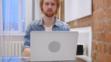 Cough, Sick Redhead Beard Man Coughing, Sitting at Home