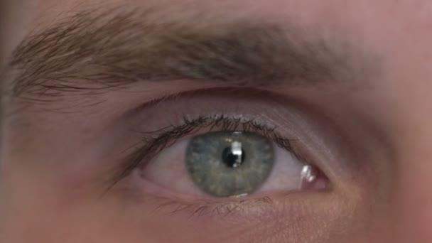 Close Up of Eye of Young Man Looking at Camera