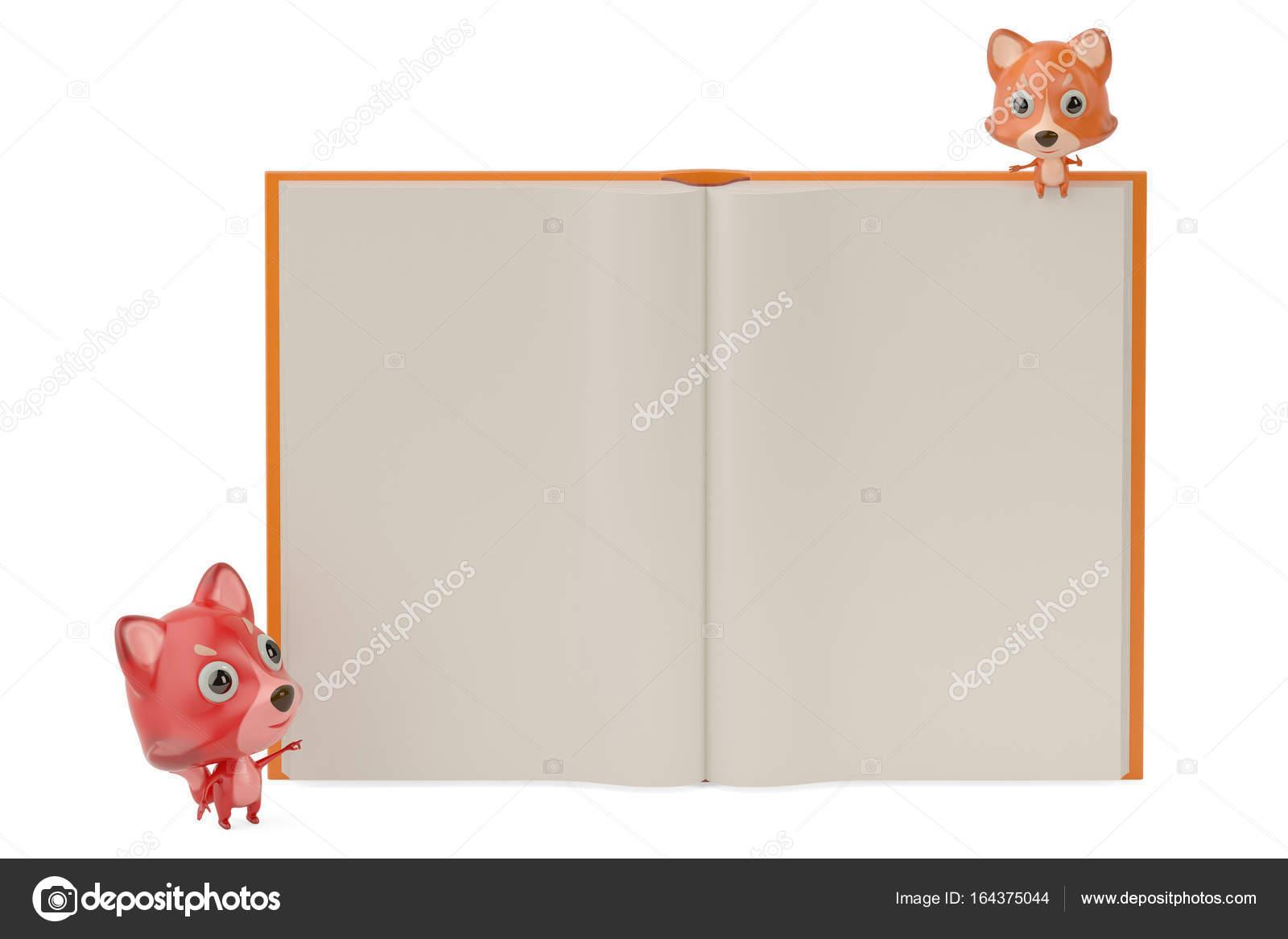 Deux Dessins Animes Fox Et Un Gros Livre Illustration 3d