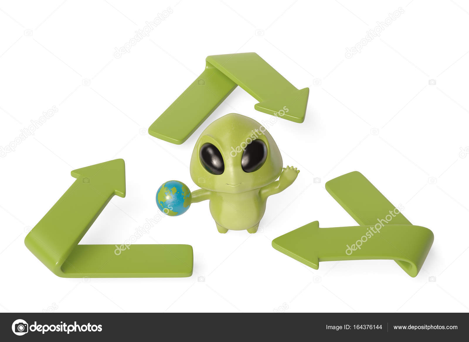 A Little Green Monster With The Recycling Symbol3d Illustration