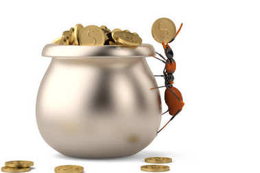 The ant put the gold in a copper pot.3D illustration