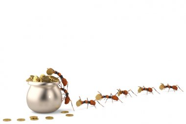 The ants put the gold in a copper pot.3D illustration.