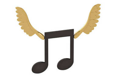 Note with gold wings.3D illustration.