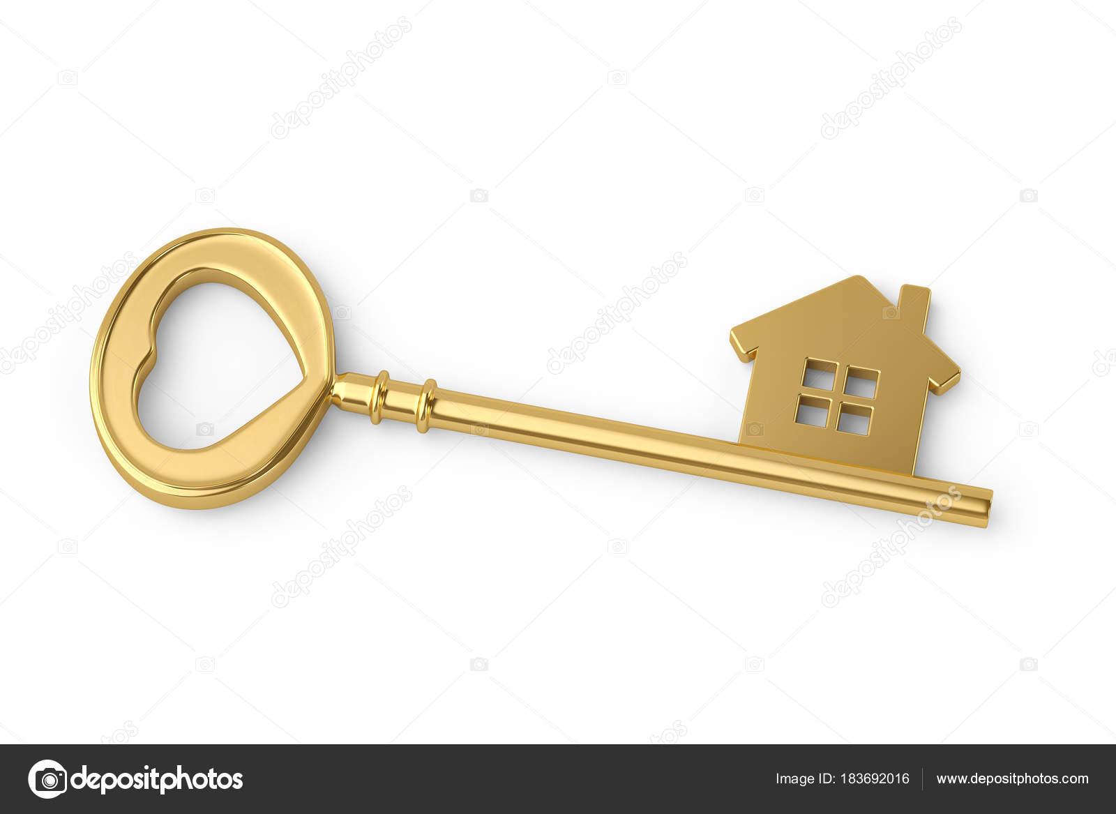 Gold house key on white background3D illustration Stock Photo