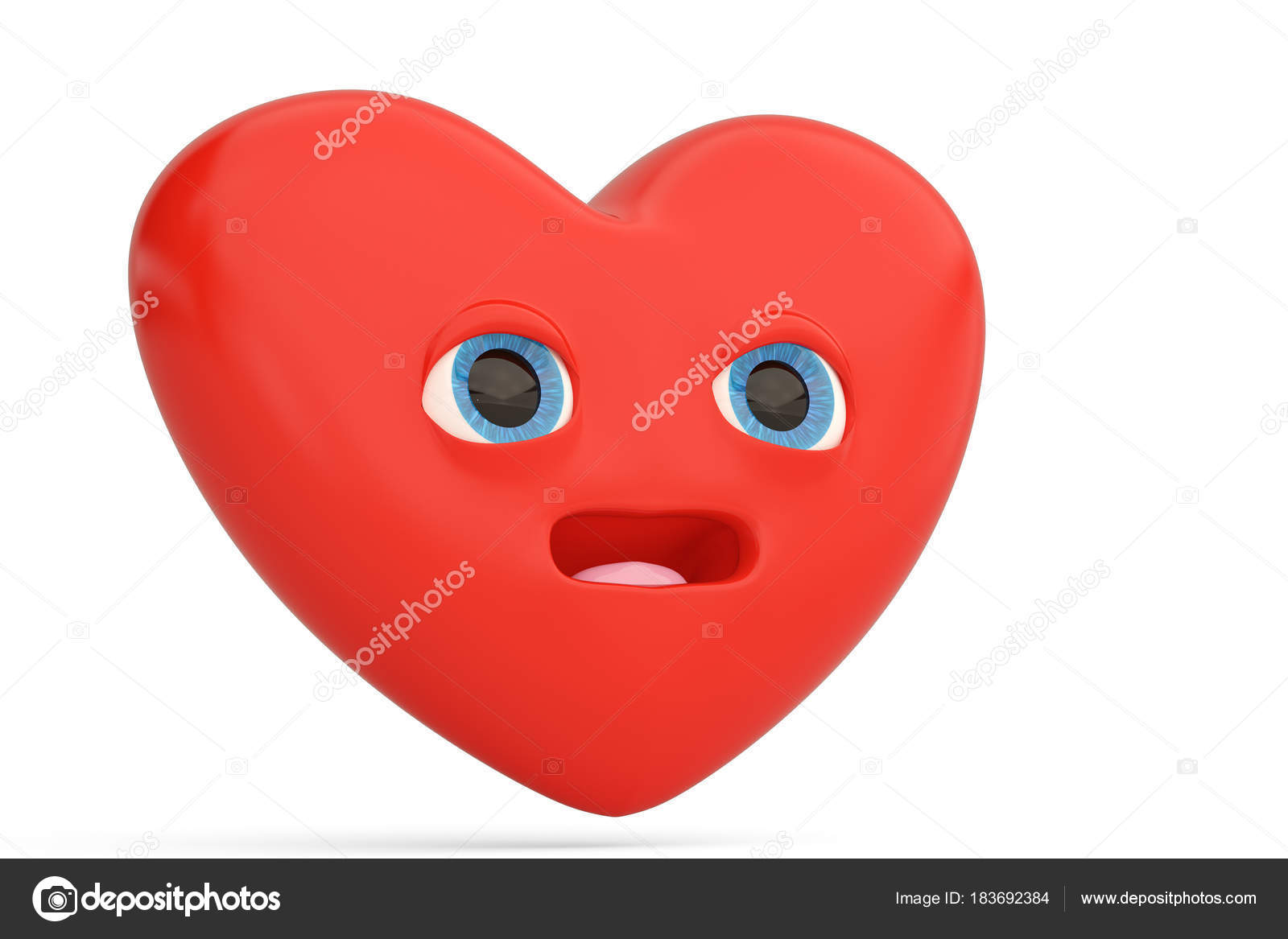 Surprised Heart Emoticon With Heart Emoji3d Illustration Stock