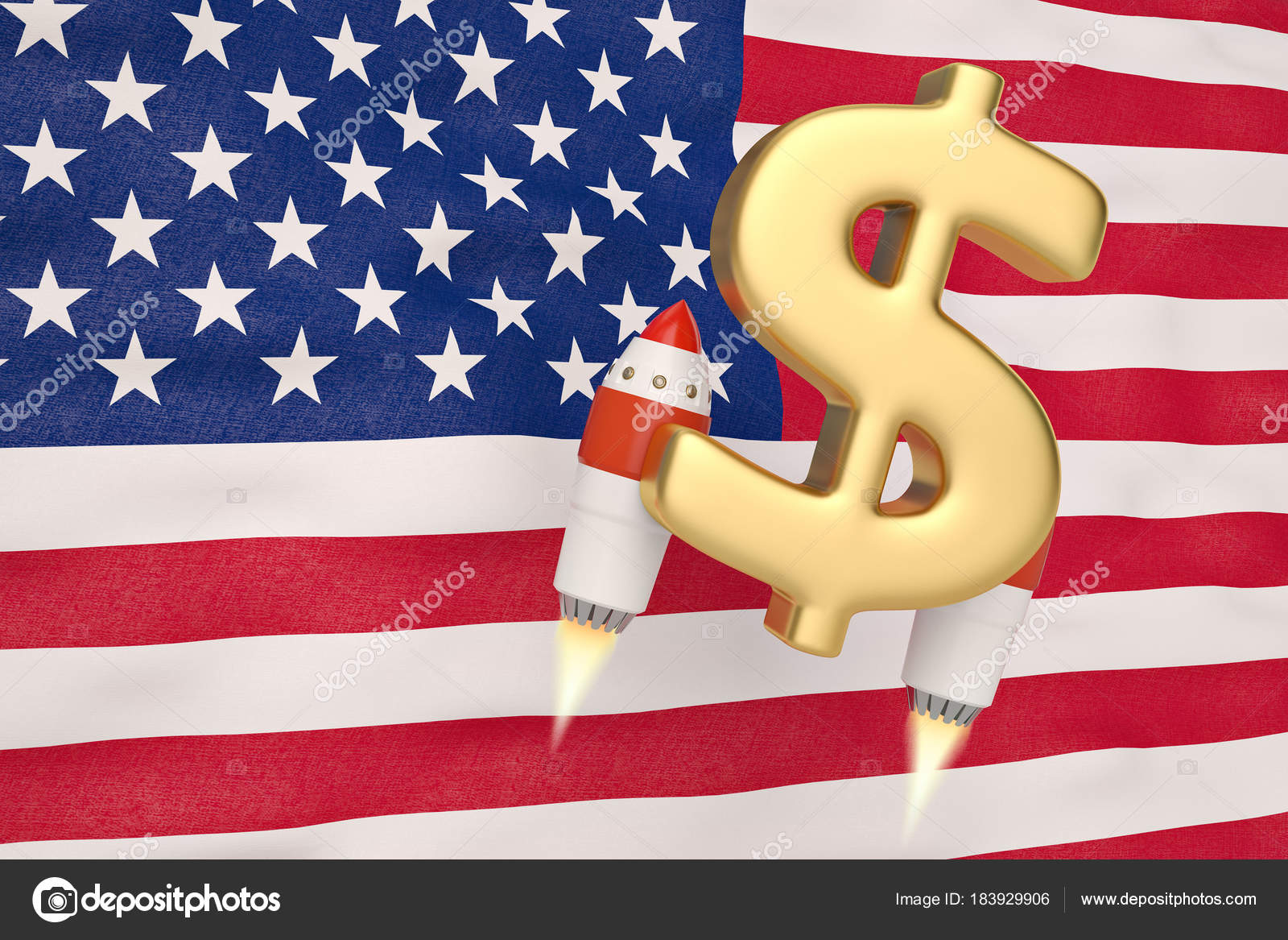 American Flag Blowing In The Wind And Dollar Symbol Rocket3d Il