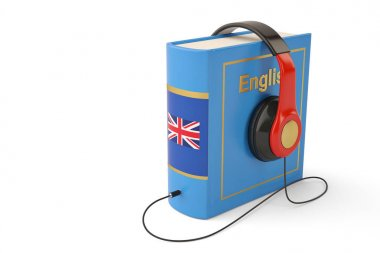 Learning languages online audiobooks concept books and headphone