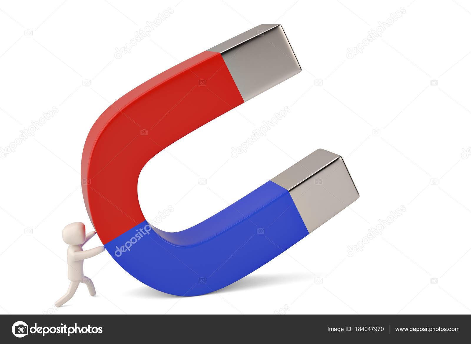 a character hold a big magnet 3d illustration stock photo