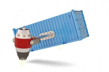 Jet engine with shipping container on a white background.3D illu