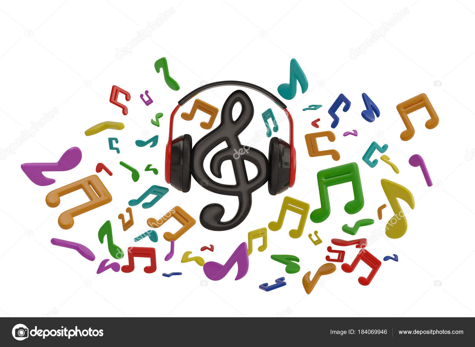 Music Notes Splash From Headphone With Music Symbol On White Bac