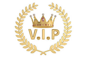 An crown with vip letter and gold branch on white background. 3D