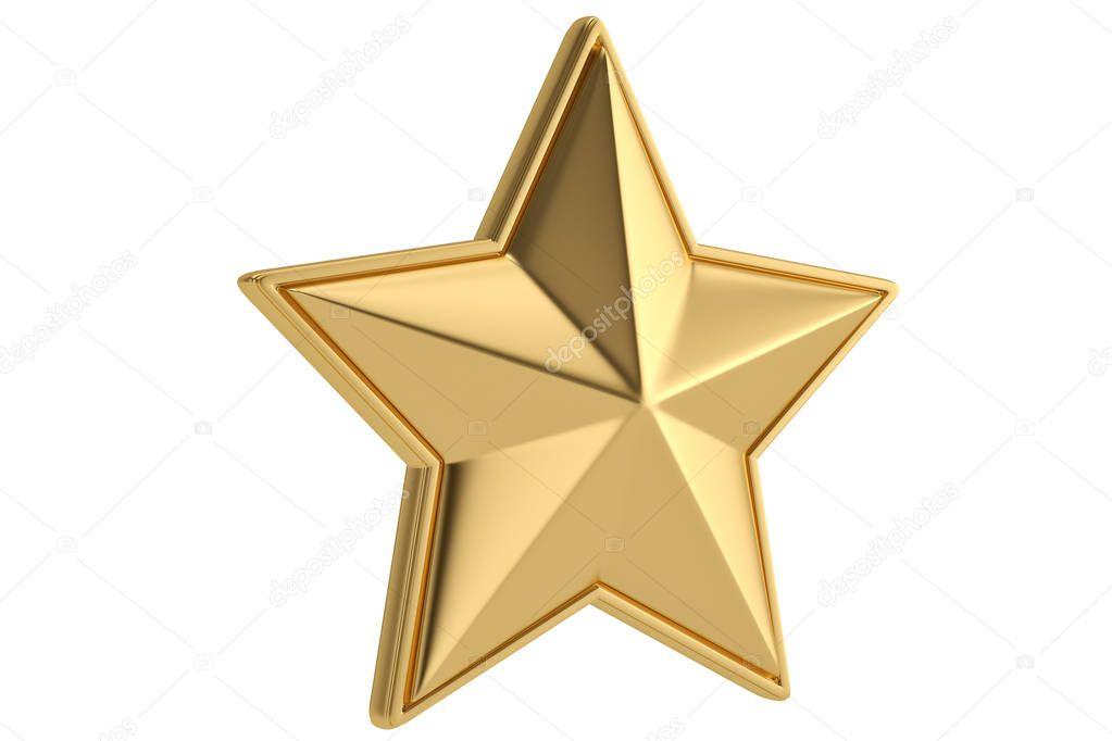 Big golden star on white background.3D illustration