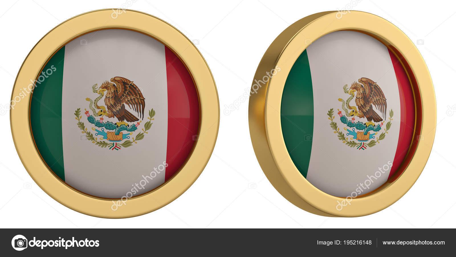 Mexico Flag Symbol Isolated On White Background 3d Illustration