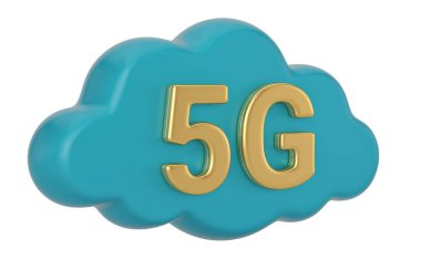 5g Cloud Symbol Isolated on white background. 3d illustration