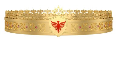 Gold crown isolated on white background. 3D illustration.