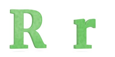 Jade alphabet isolated on white background. 3D illustration.