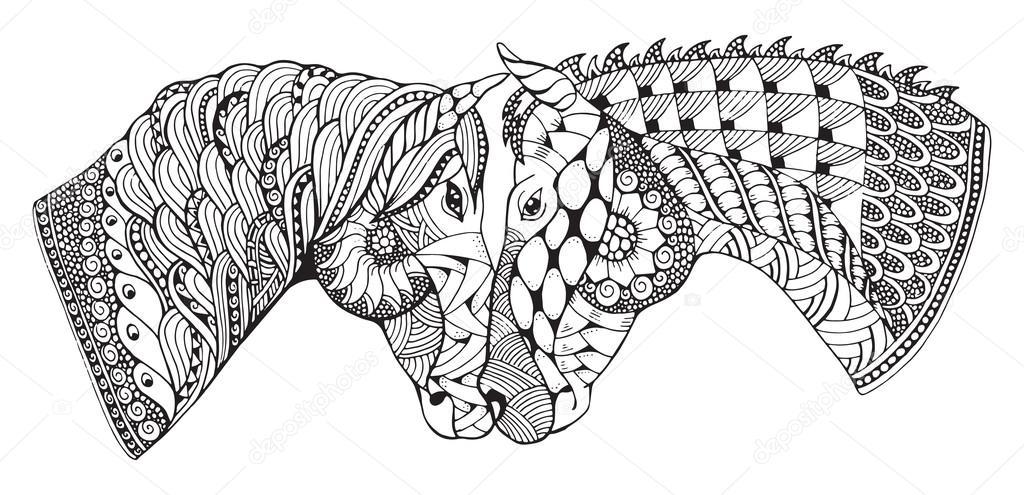 Imágenes: caballos en blanco y negro para imprimir | Dos caballos ...