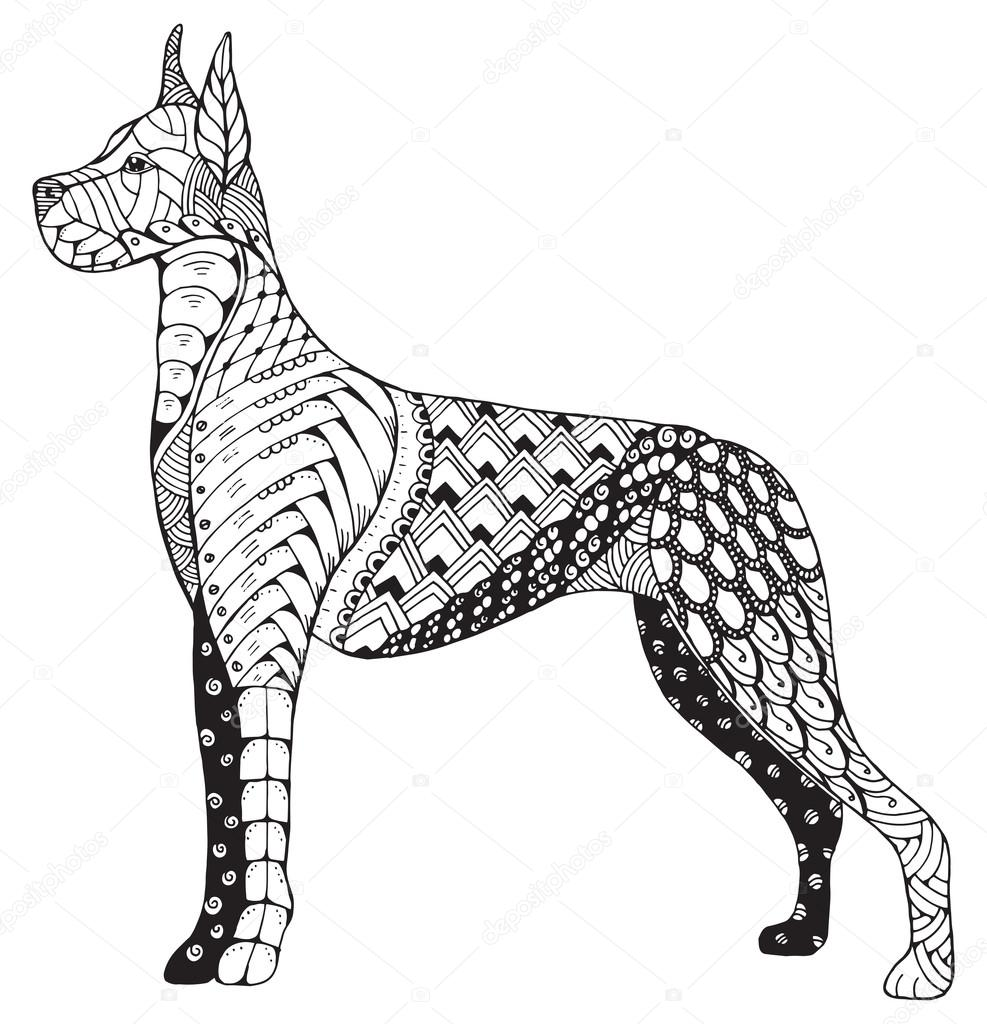 great dane honden zentangle gestileerd hoofd freehand