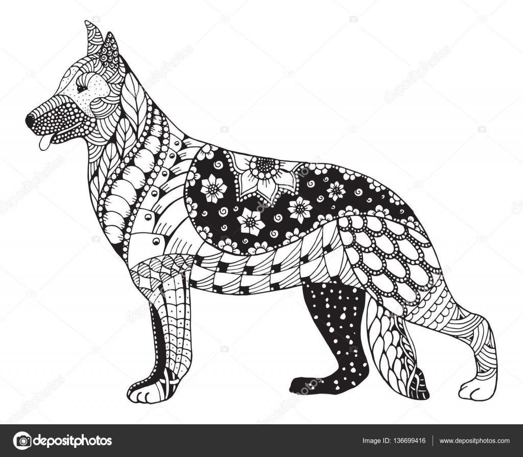 duitse herder hond hoofd zentangle gestileerd vector