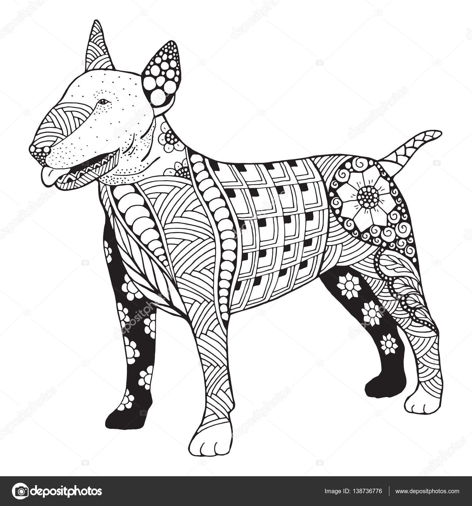 bull terrier hond zentangle gestileerd vector illustratie