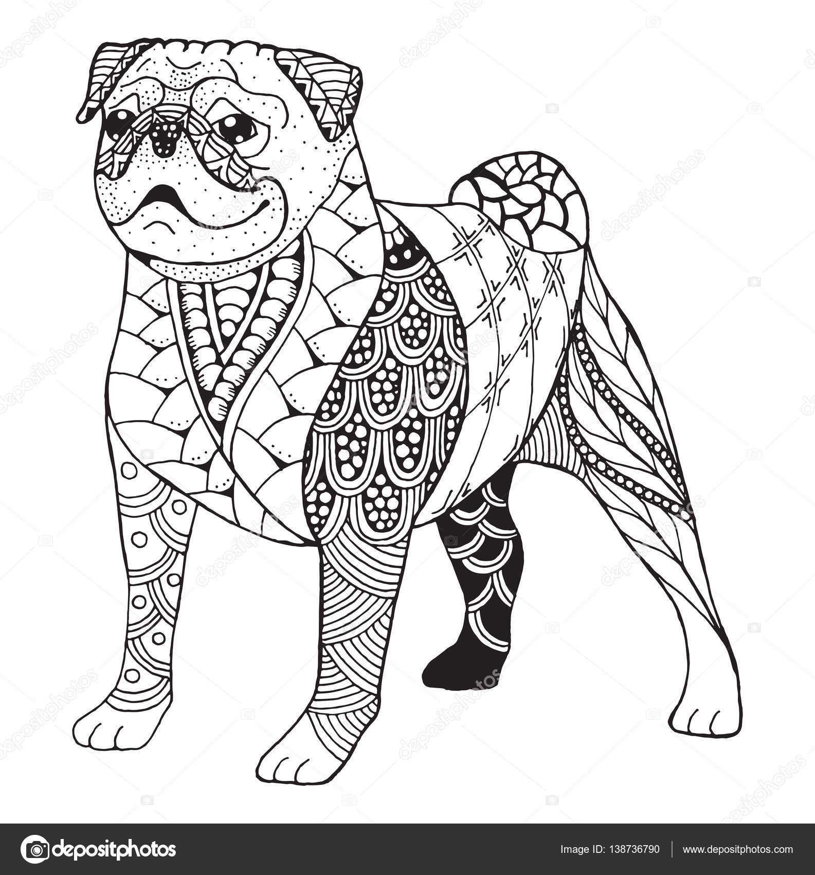 Pug perro zentangle estilizado, vector, Ilustración, lápiz a mano ...