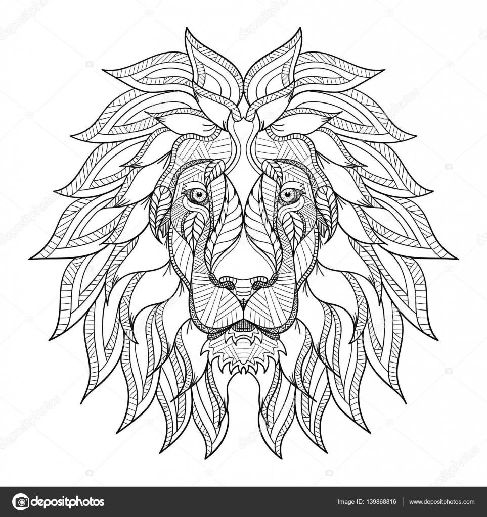 Lion head zentangle, doodle stylized, vector, illustration