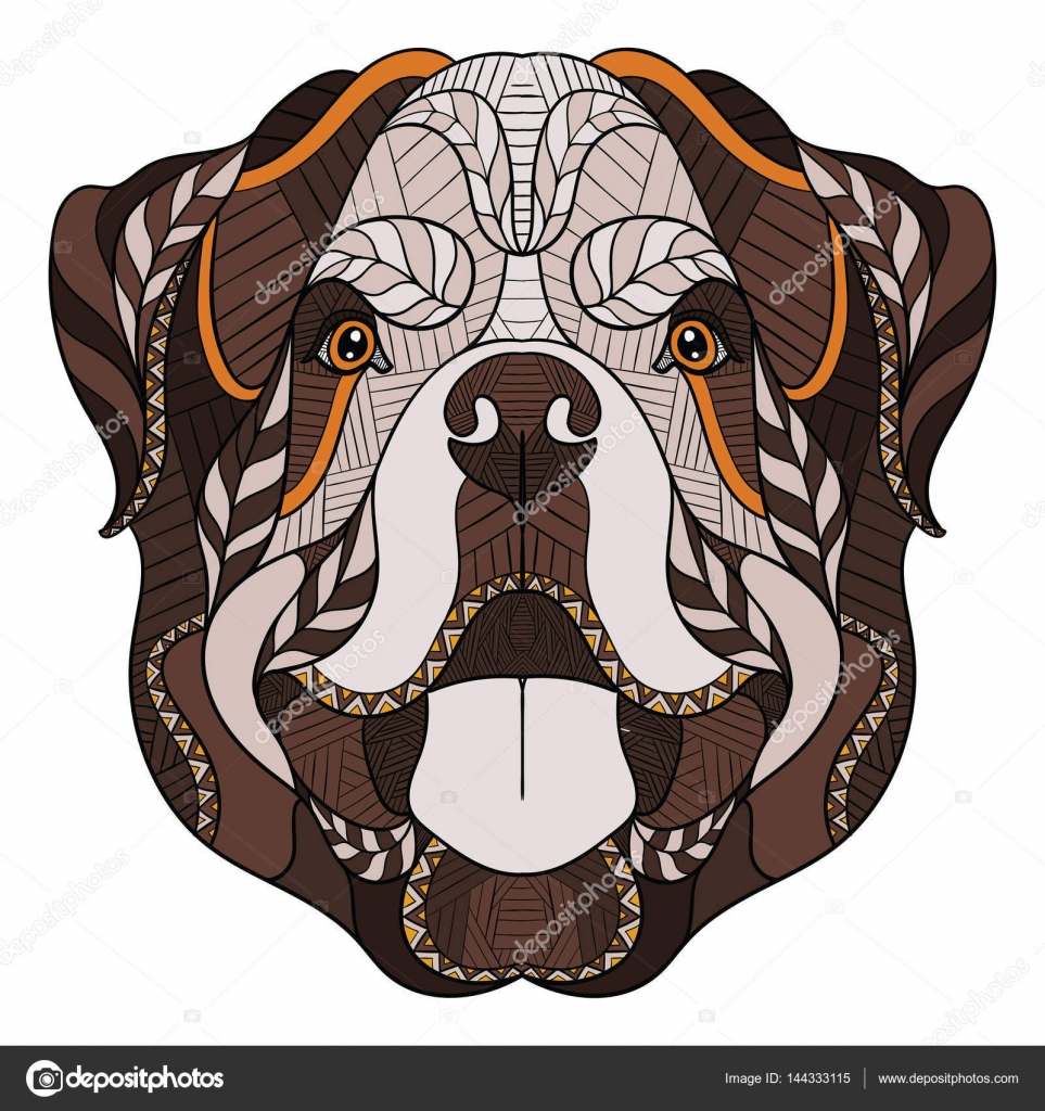 Rottweiler Perro Zentangle Cabeza Estilizada Doodle Dibujado A Mano
