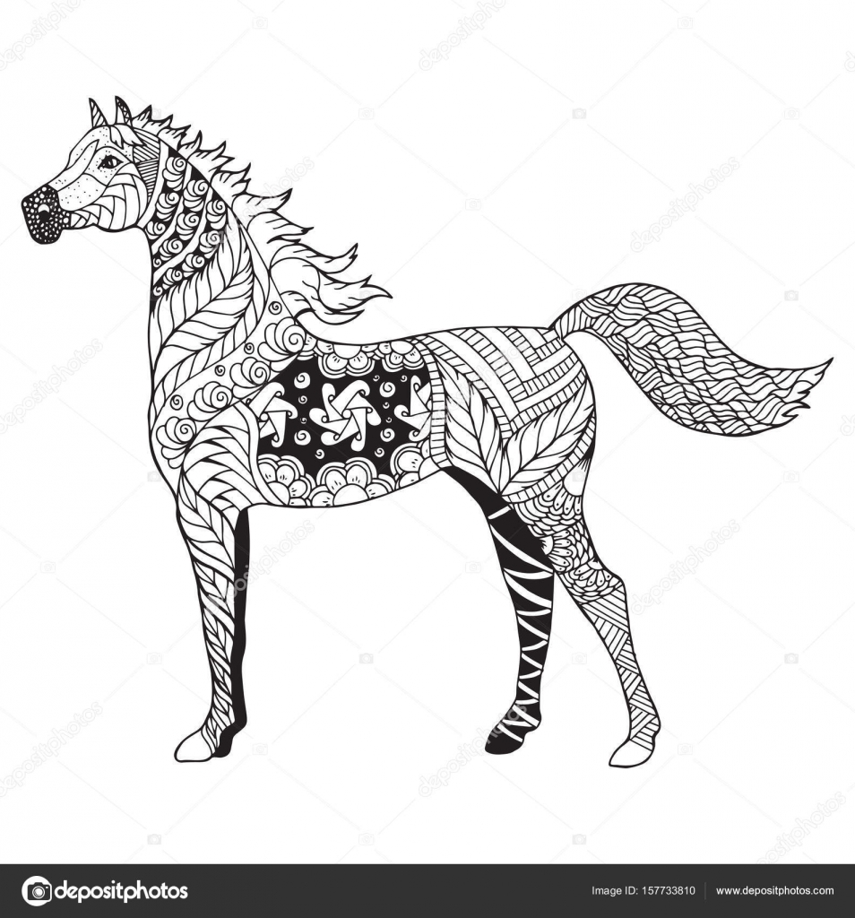 Coloriage Cheval Zen.Cheval Arabe Zentangle Stylises Vecteur Illustration Crayon A