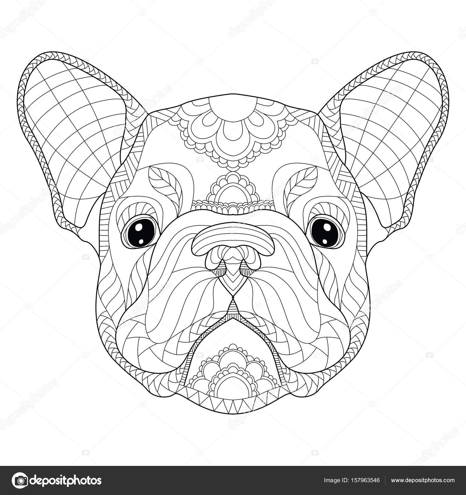 French bulldog puppy head zentangle stylized, vector