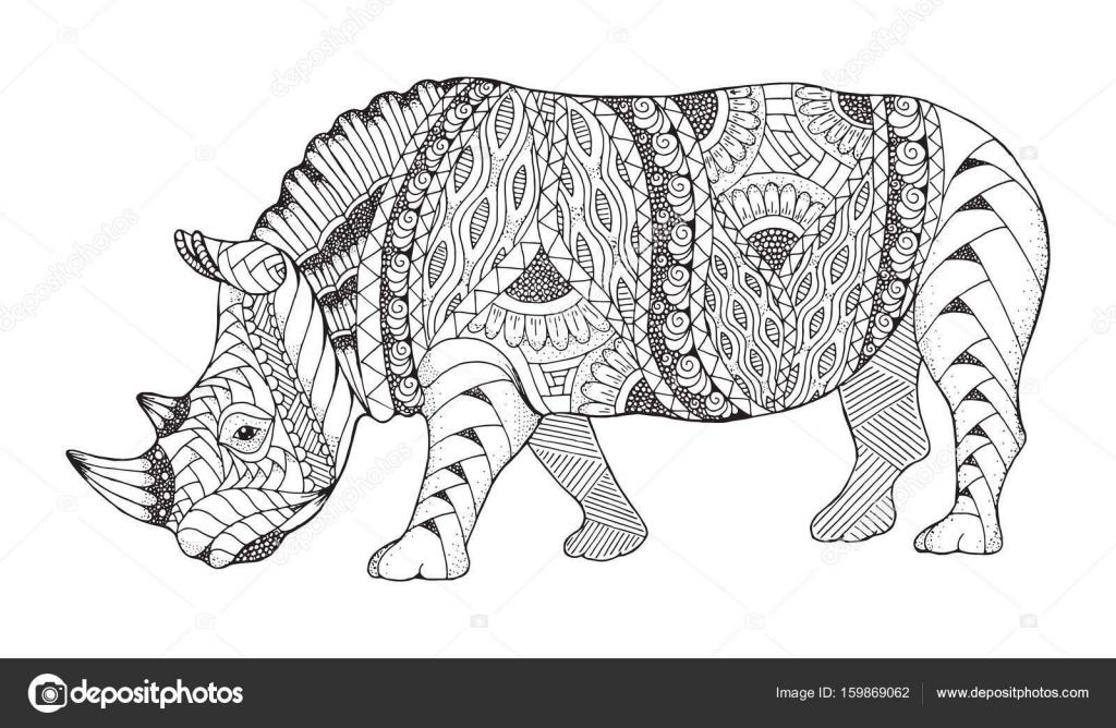 Rhino Zentangle Animaux Stylise Vecteur De Rhinoceros Illustration