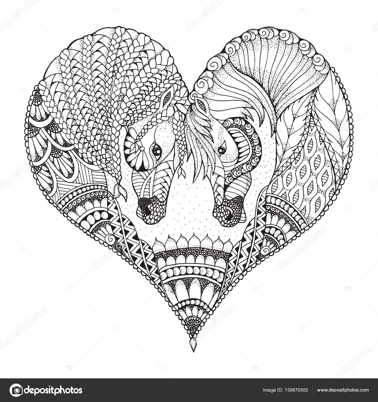 Iki At Bir Kalp şeklinde Bir Sevgi Gösterisi Zentangle Ve Kakılmış