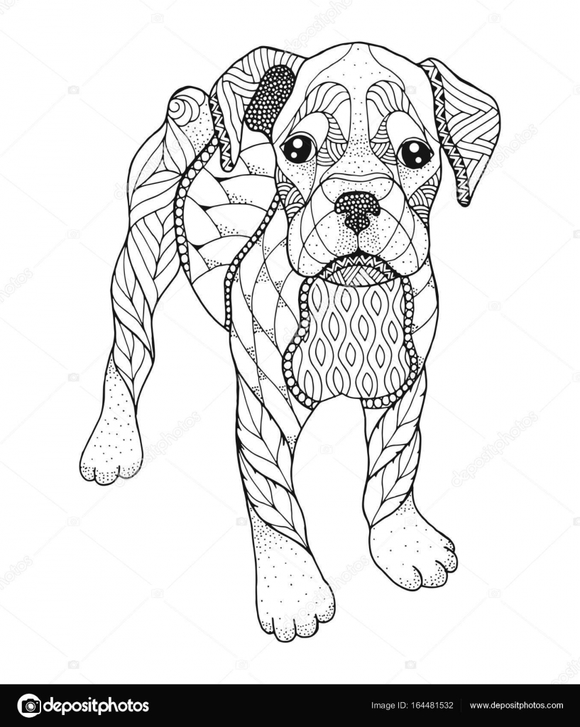 Perro Boxer en estilo zentangle y stipple. Ilustración de vector ...