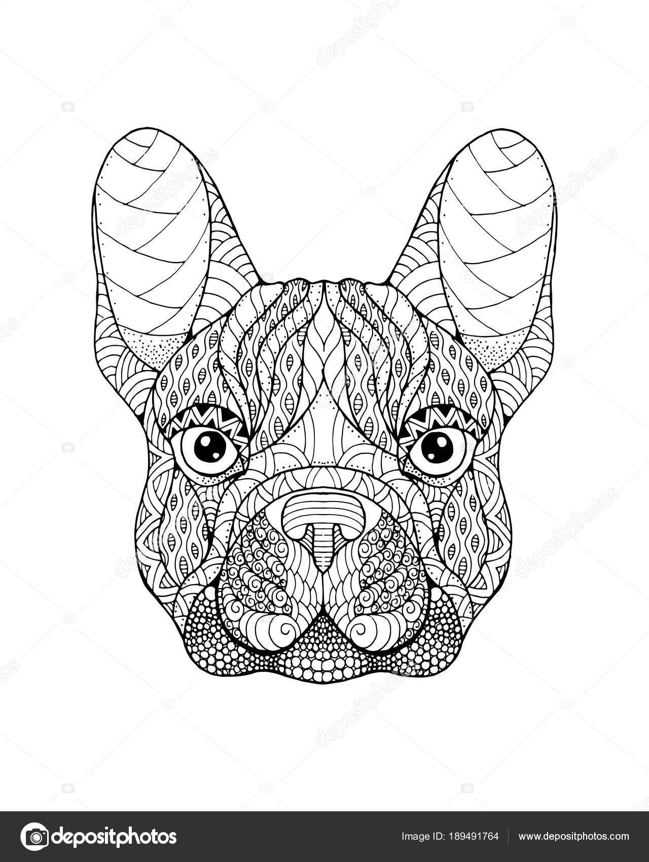Bulldog Francese Cane Zentangle Stilizzato Illustrat Di Vettore A