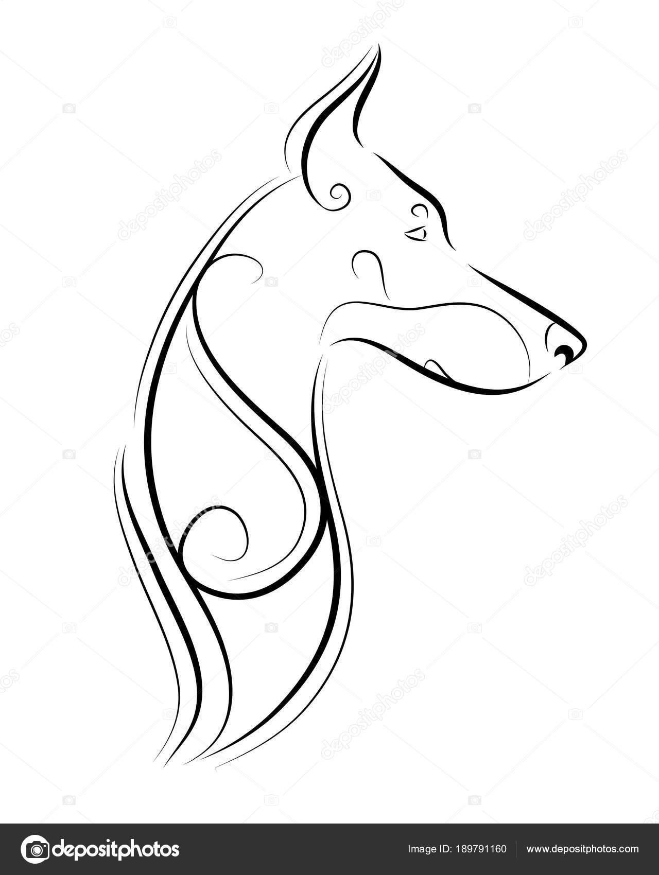 Siluetas De Animales Para Imprimir Doberman Pinscher Línea Arte