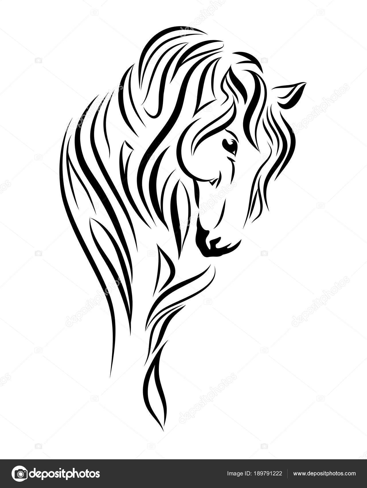 Cheval regardant vers le bas de dessins au trait tribal - Dessin cheval de trait ...