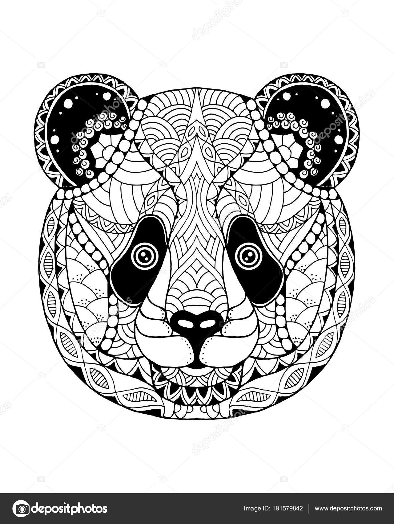panda cut out panda zentangle stylized