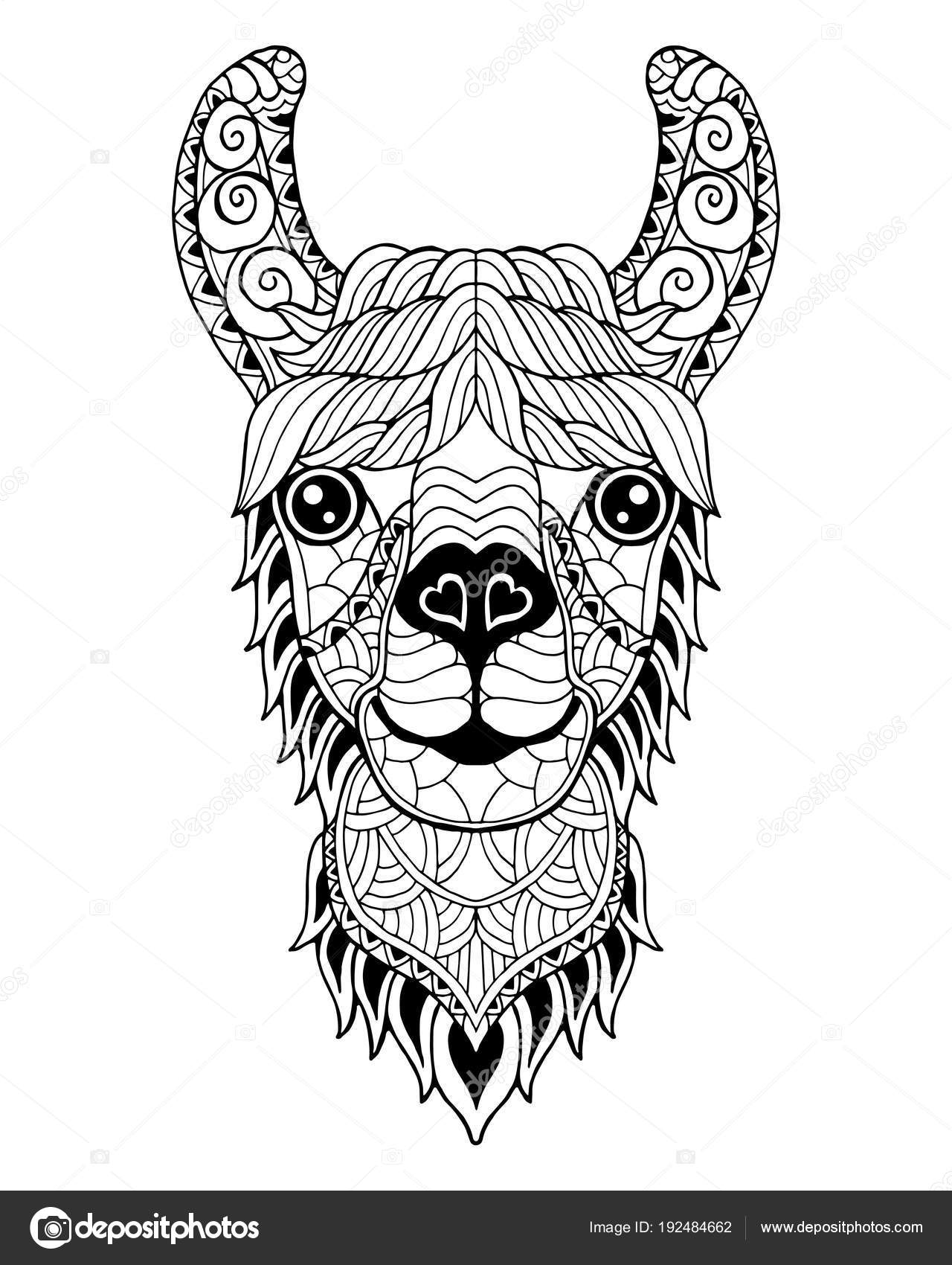 lama alpaca mandala zentangle gestileerd freehand