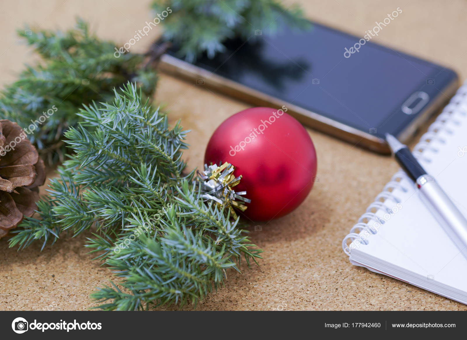 not completed list of goals in a notebook on a wooden table with christmas decorations and - Christmas Decorations List