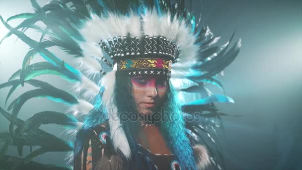 Native American woman isolated on blue background